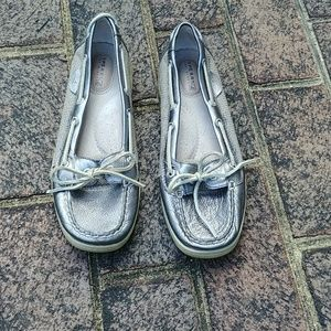 Sperry Top-Sider silver leather loafer shoes 9